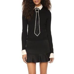 Sim Embellishes Tie Sweater with Collar + Cuffs